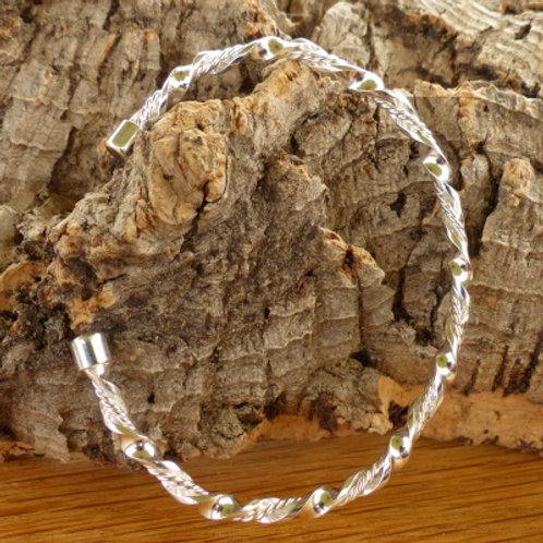 Sterling Silver Double Twisted Slave Bangle
