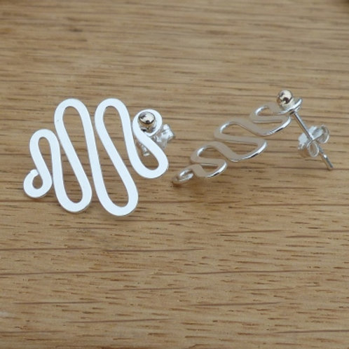 Silver & Gold Swirl Wire Stud Earrings - last pair left