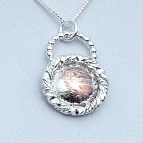 Sterling Silver Framed Mokume and Pearl Wire Pendant - only one left