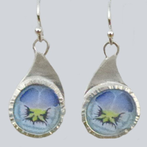 Fine Silver and Polymer Clay Pansy Drop Earrings - one of a kind