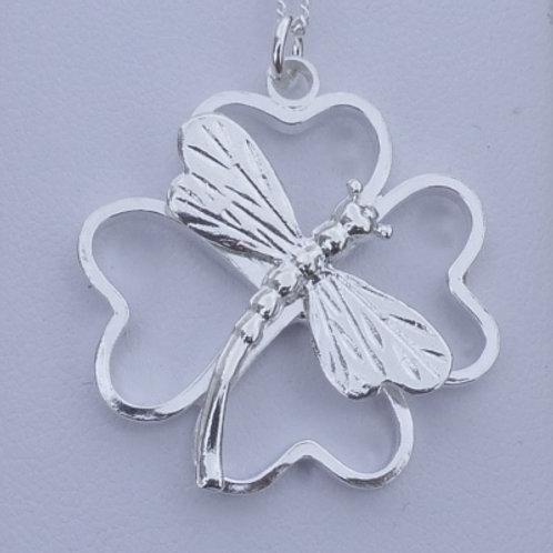 Silver Four Hearts Leaf Dragonfly