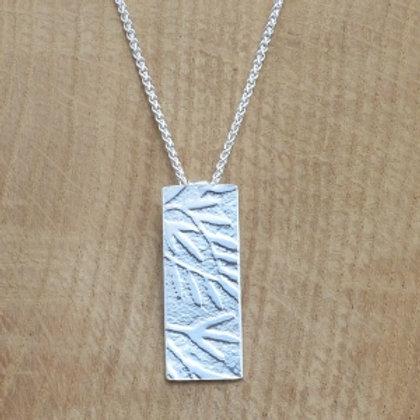 Britannia Silver Pendant Embossed Leaves