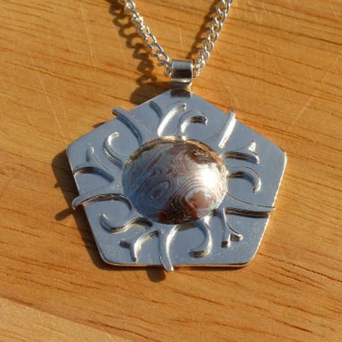 Argentium Silver Hexagonal Fire Pendant - one of a kind