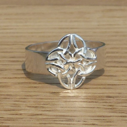 Sterling Silver Ring with square Celtic knot - made to order
