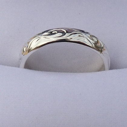 Sterling Silver Scroll Pattern Ring - made to order