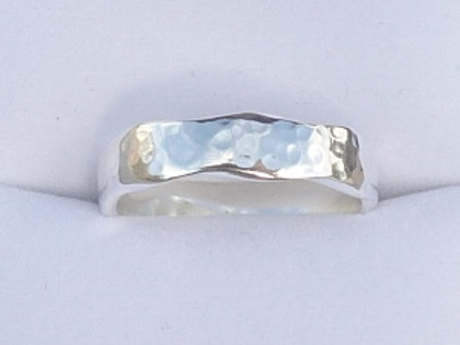 Silver Narrow Wany Edge Ring
