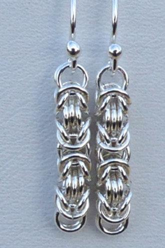 Silver Byzantine chain plain drop earrings