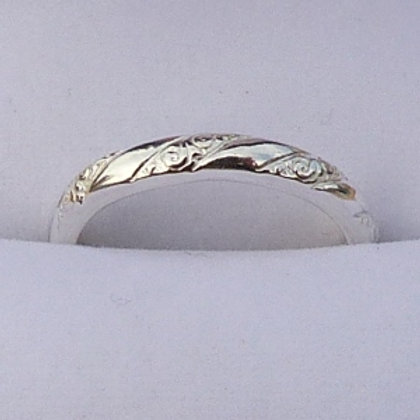 Sterling Silver D Shape Twist Pattern Ring - made to order