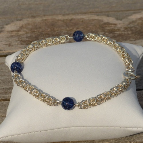 Byzantine Bracelet with Blue Murano - made to order