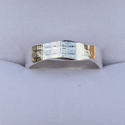 Silver Narrow Wany Edge Ring with pattern - made to order