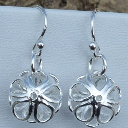 Sterling Silver 3D Daisy Drop Earrings