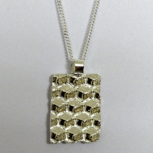 "Fine Silver ""beeswax sheet"" Pendant and sterling silver chain - one of a kind"