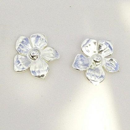 Silver Flower Charm Stud Earrings