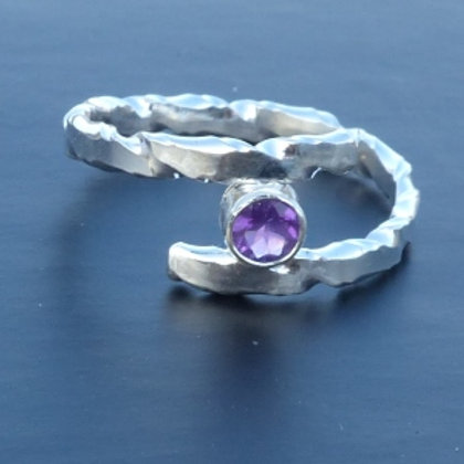 Sterling Silver Twist Pattern bypass ring with Amethyst - made to order