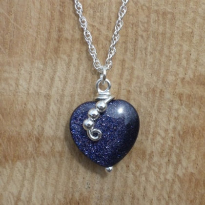 Blue Goldstone Glass Heart Pendant