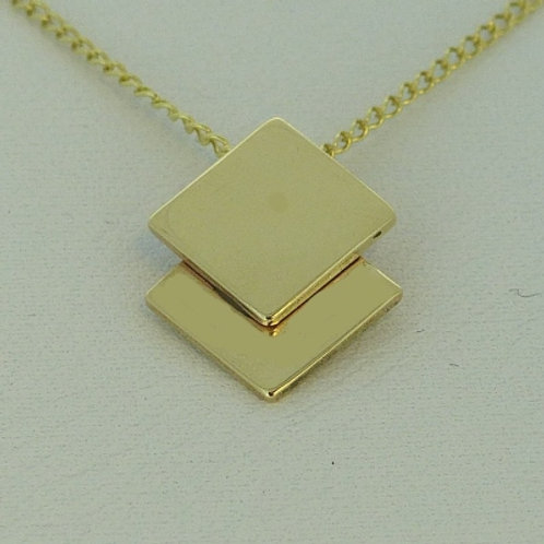 Double Square 9ct Gold Pendant and Chain - made to order