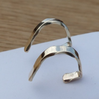 9ct Gold Wany Edge Creole Stud Earrings  - item made to order