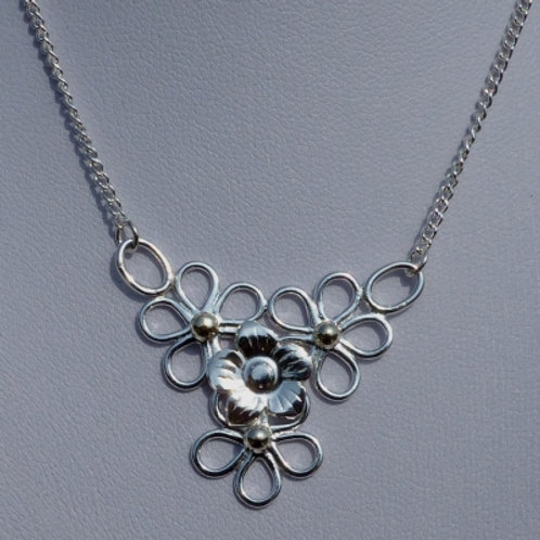 Silver Flower Quartet with Gold Detail Necklace
