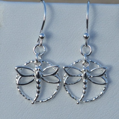 Dragonfly circles drop earrings