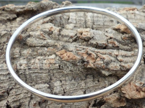 Silver Low Oval Plain Bangle - item made to order
