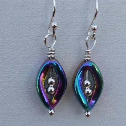 Sterling Silver Rainbow Hematite Drop Earrings