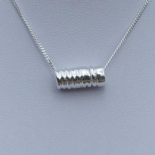 Fine Silver Fused Tube Bead Pendant