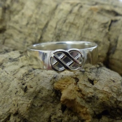 Silver Plain Band Ring with small Celtic Knot detail - made to  order
