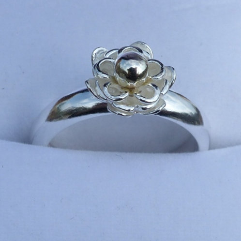 Silver Flower Ring with 9ct Gold Centre - made to order
