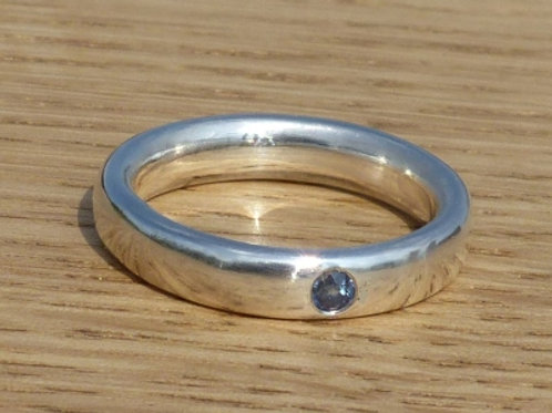 Sterling Silver Low Oval Ring with Flush Set Sapphire - made to order