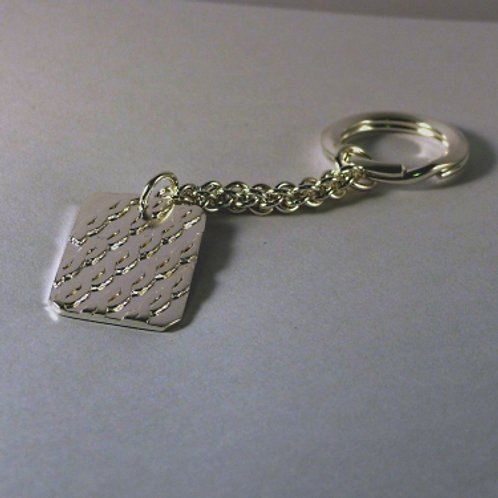 Silver Striped Pattern Key ring and Fob - made to order