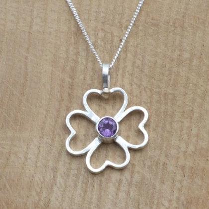 Fine Silver Hearts Flower Amethyst Pendant
