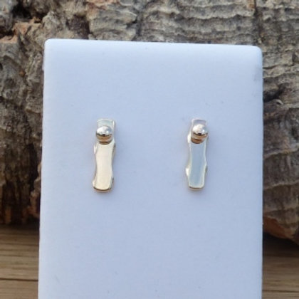 9ct Gold Vertical Bar and Ball Stud Earrings - last pair