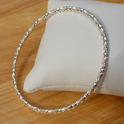 Double Twist Sterling Silver Bangle - last one in stock