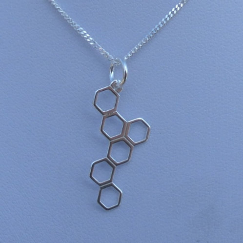 Sterling Silver Honeycomb Vertical Pendant