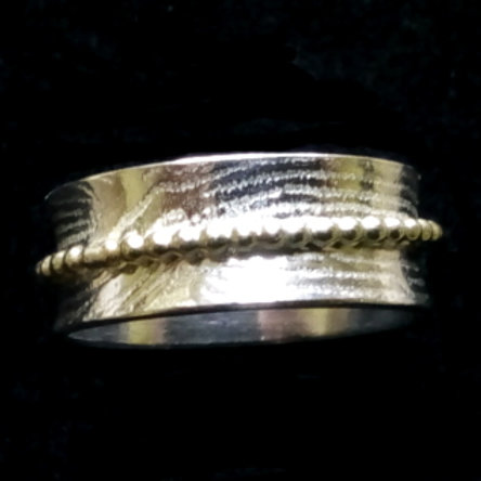 Britannia Silver Patterned Spinner Ring with Gold Pearl Wire - made to order