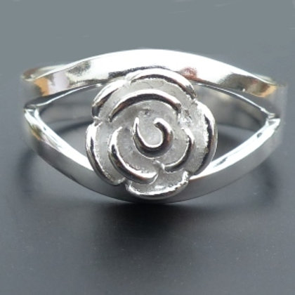 Rose Split Shank Silver Ring - made to order