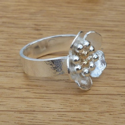 Stippled Sterling & Fine Silver Flower Ring - made to order