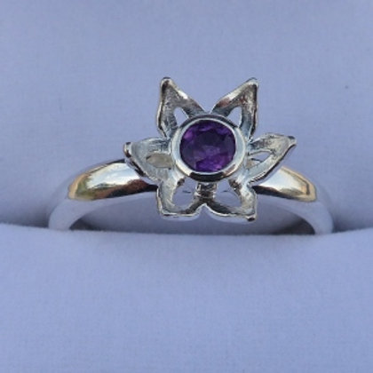 Silver Amethyst Flower Ring with narrow band - made to order