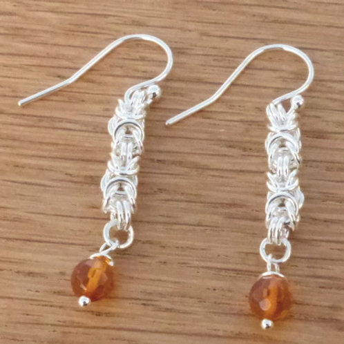 Silver Byzantine Weave with Amber Drop Earrings