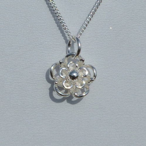 Silver Flower with Silver Bead Centre Pendant