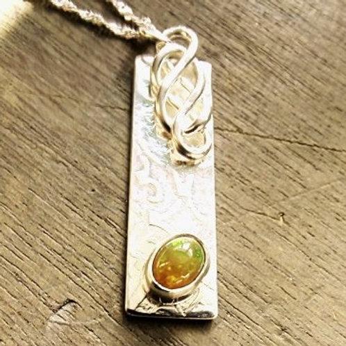 Britannia Silver Celtic Opal Pendant - one off design