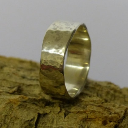 Silver Tall Wany Edge Ring with hammer finish - made to order