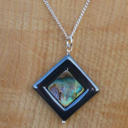Hematite Square with turning Abalone Bead Pendant