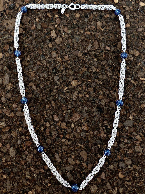 Byzantine Necklace with Blue Murano - last one