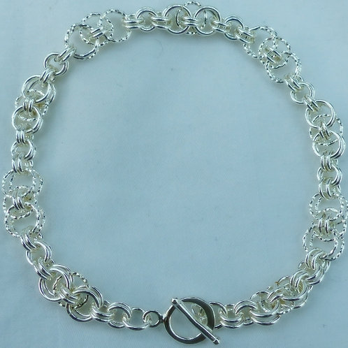 Silver Helm weave and diamond cut link bracelet - item made to order