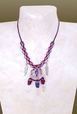 Collier cristal de roche pointe, quartz rose et améthyste