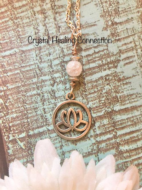 CrackleQuartz Lotus Necklace