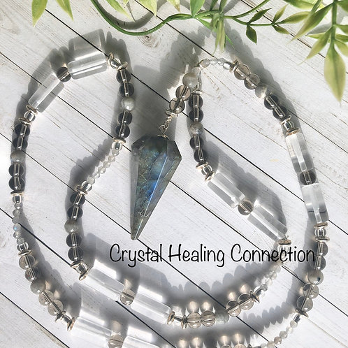 Labradorite, Quartz and Smokey Quartz Pendulum Necklace