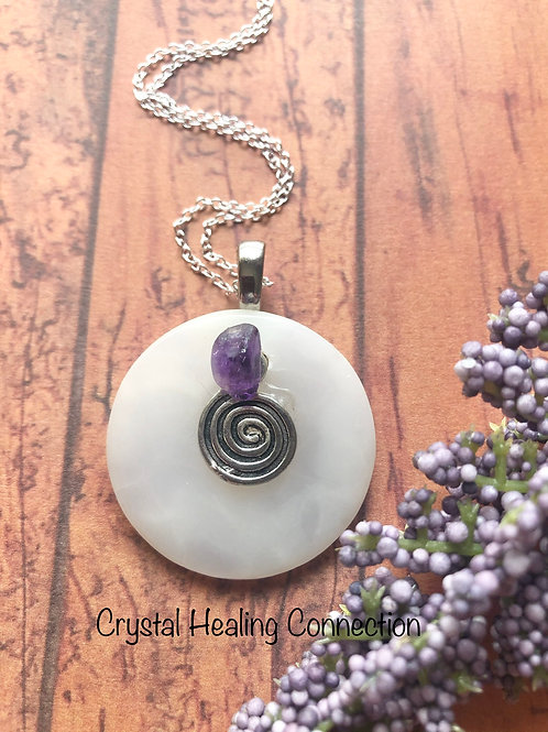 Selenite and Amethyst Swirl Necklace