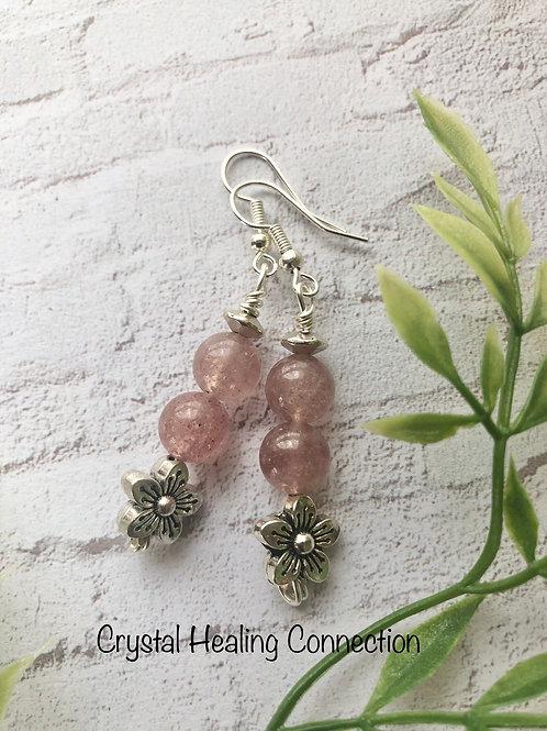 Strawberry Quartz Flower Earrings